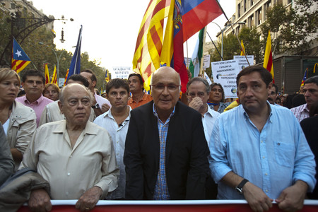 Josep Antoni Duran Lleida (centro), durante la manifestacin independentista de la Diada. 