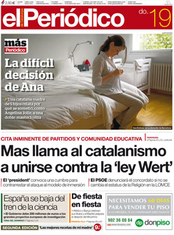 La portada de EL PERIDICO del domingo 19 de mayo.