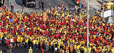 Participantes en la concentraci�n soberanista de la pasada Diada.