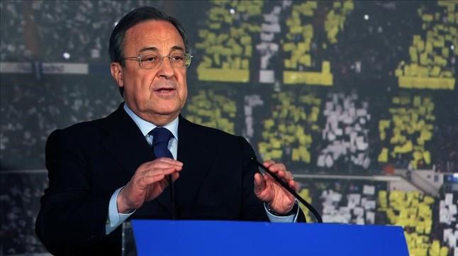 Florentino Pérez, durante una rueda de prensa