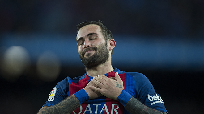L'equip blaugrana li engaltacinc gols al conjunt canari amb celebració especial enla dedicatòria d'Aleix Vidal per tancar el marcador.