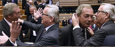 Juncker saluda a Farage.