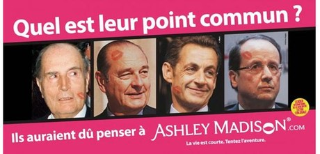Cartel publicitario en Francia de la web de contactos ad�lteros Ashley Madison.