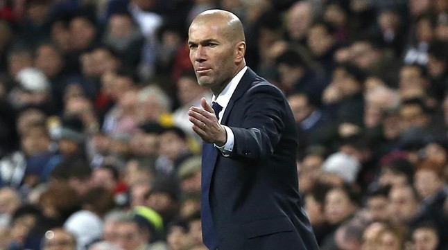 Zidane, durante el último partido de Liga contra el Sporting