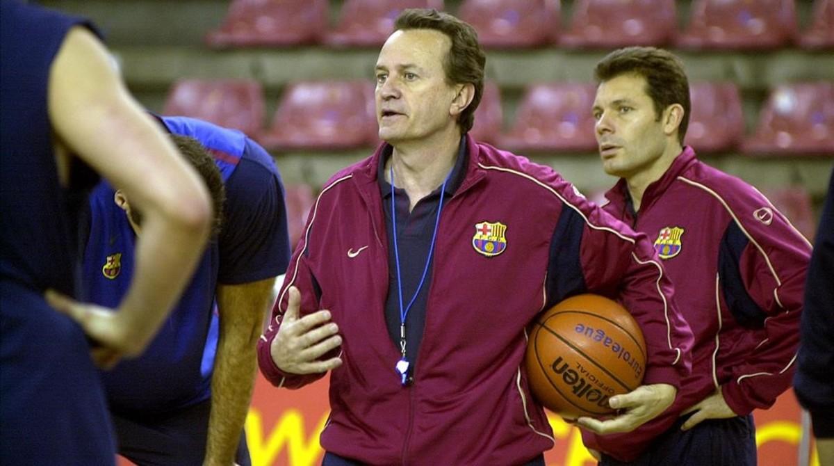 En un entrenamiento del Barça, junto a Joan Montes