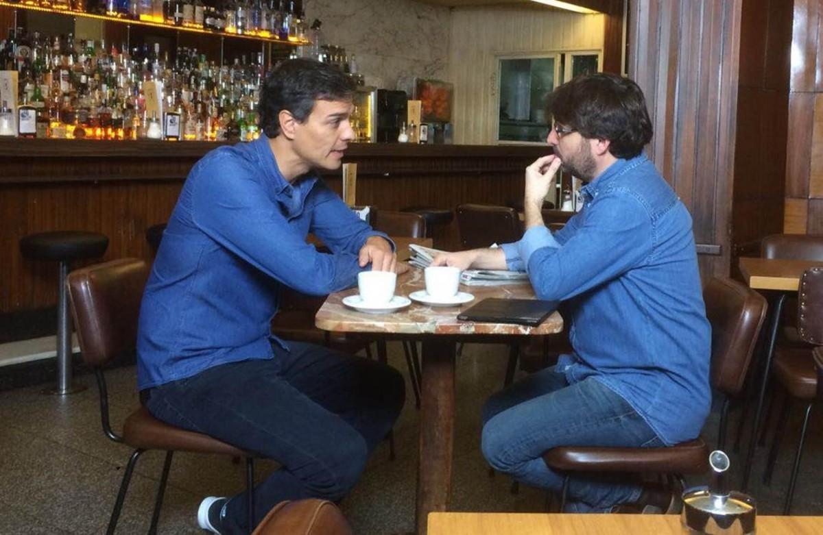 Pedro Sánchez y Jordi Évole, durante la entrevista del 30 de octubre del 2016.
