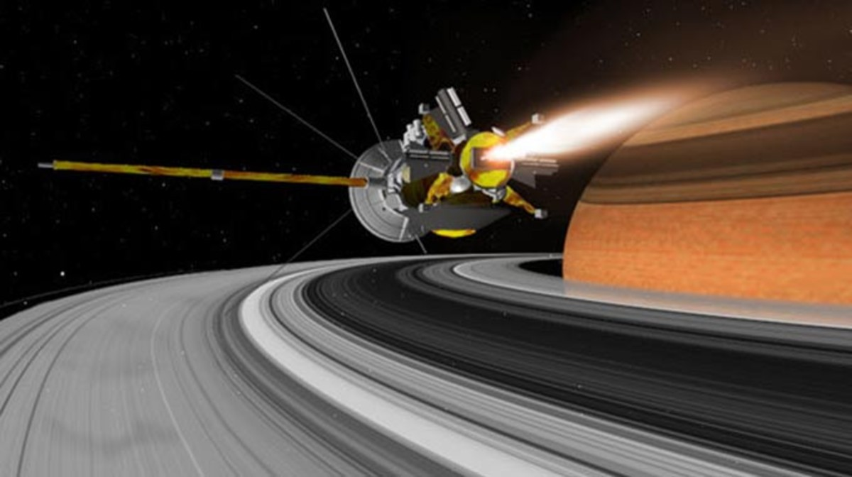 La sonda Cassini, sobre los anillos de Saturno, en una recreación artística