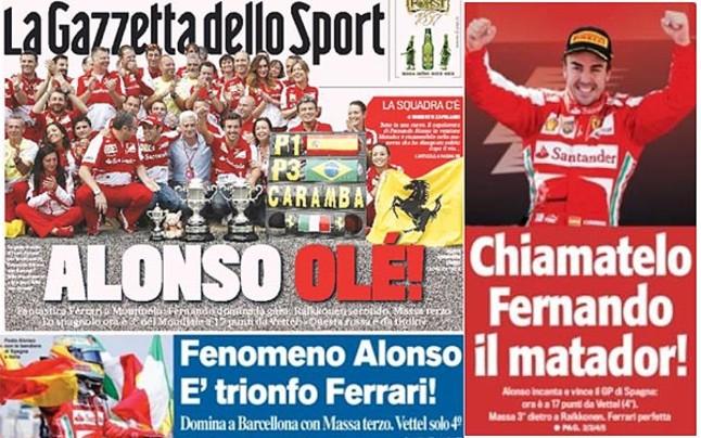 La prensa italiana elogia a Alonso, 'il Matador' de Ferrari