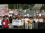 Manifestaci� d'afectats d'Afinsa i F�rum Filat�lico, a Madrid, el 2006.