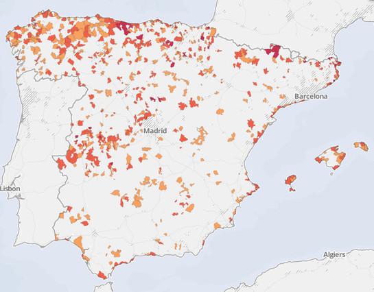 Mapa de España a partir de sus bares