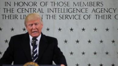 El presidente Donald Trump durante su discurso en la visita a la CIA.