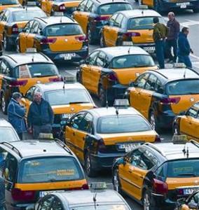 Parada de taxis de la estación de Sants, el pasado enero.