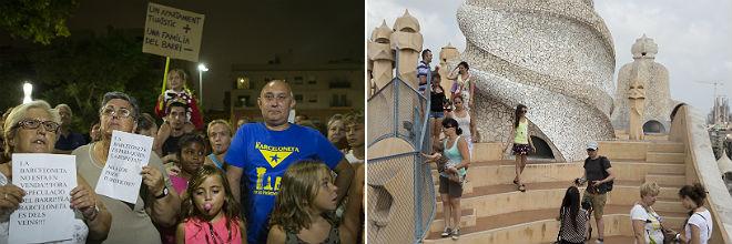 Protesta en contra de los pisos tur�sticos en la Barceloneta. A la derecha, turistas en La Pedrera.