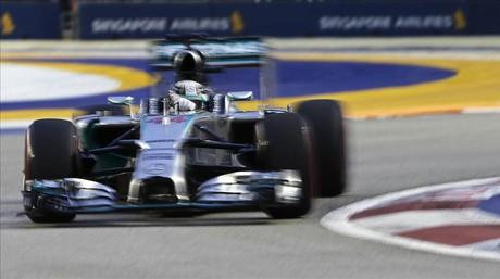 Hamilton, en los entrenamientos de Singapur.