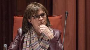 Marta Pujol Ferrusola, durante su comparecencia en la comisión del Parlament sobre corrupcion y fraude, en marzo del 2015.