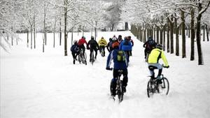 Un grupo de ciclistas se aventura en el parque de Olarizu de Vitoria.