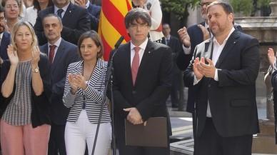 Cimera sobiranista al Palau de la Generalitat