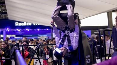 Exhibición de las gafas de realidad virtual de Samsung en el MWC.