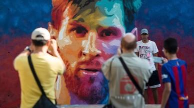 Graffiti de Leo Messi en uno de los barrios de Barcelona.