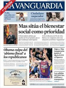 """El discurso de Fin de Año de Mas que sitúa el bienestar social como eje del """"proyecto nacional"""" abre las portadas"""
