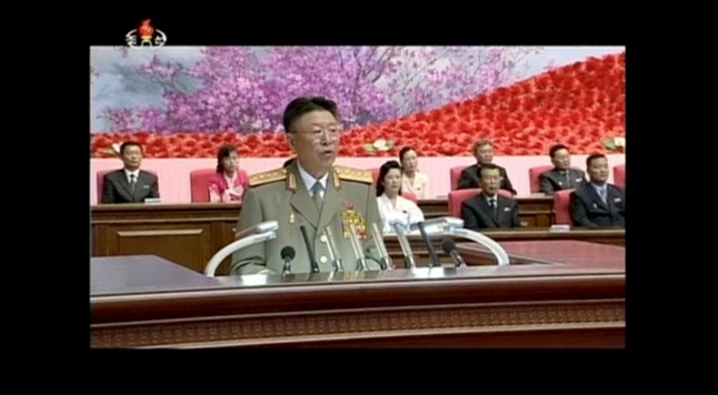 North Koreas army chief of staff Ri Yong Gil makes a speech in Pyongyang in this still image taken from KRT file video footage