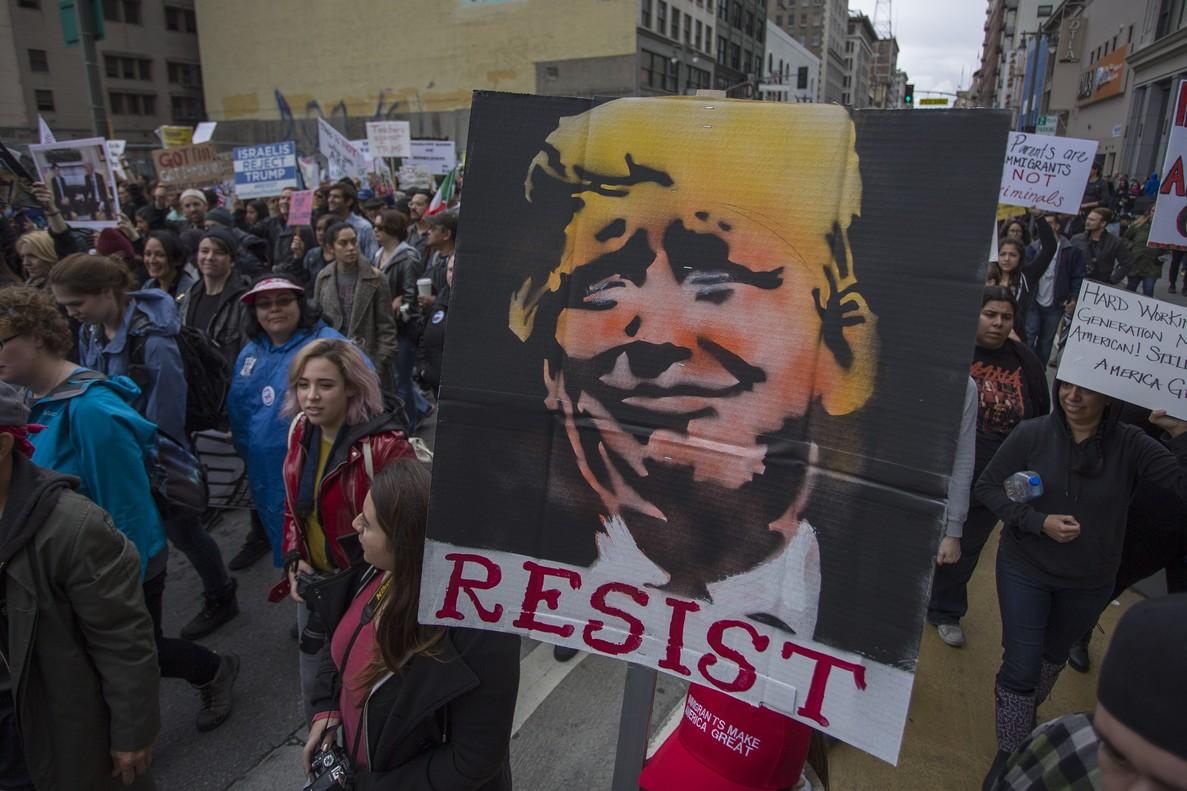 Manifestación contra Trump en Los Ángeles, este sábado.