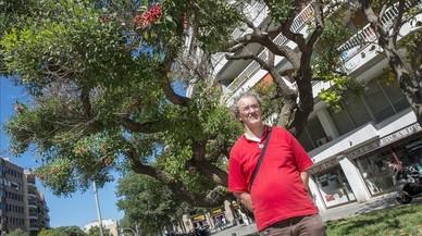 Ricard Llerins, junto a la eritrina o �rbol de coral del cruce Arag�-Enamorats, el mayor ejemplar de su especieen Barcelona, aunque con claros signos de decadencia.
