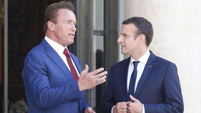 Macron y Schwarzenegger juntos en el Elíseo.