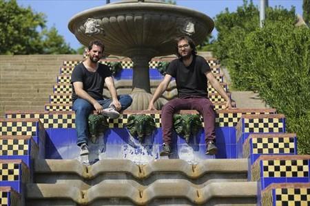 Miquel (izquierda) y Jordi Valls, en las escalinatas dise�adas por Jean-Claude Nicolas Forestier en Montju�c.