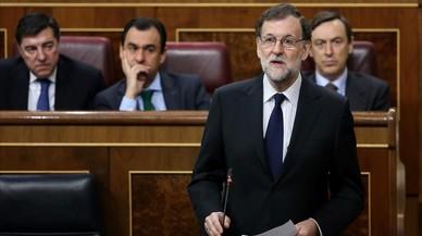 Mariano Rajoy, en su escaño del Congreso.