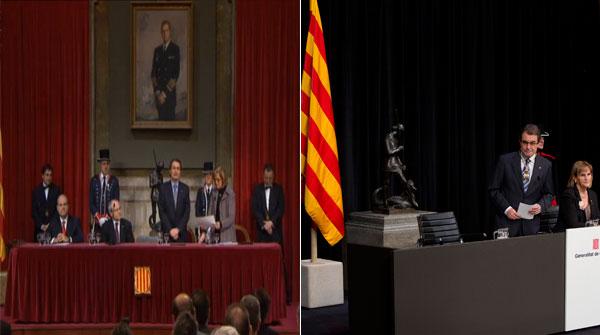 La toma de posesión de Mas en el 2010 (izquierda) y la de hoy.