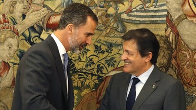 El Rey y Javier Fern�ndez, este martes en el Palacio de la Zarzuela.