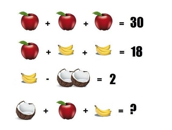 El último juego de Facebook: ¿cuál es la mitad de un coco más una manzana y 3 plátanos?