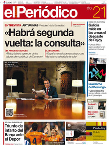 La portada de EL PERIDICO.
