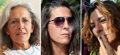 Cristina La Frossia, Aurora Sotoca y Mar Vicente, tres pacientes que consumen cannabis.