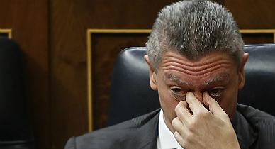 El ministro de Justicia, Alberto Ruiz-Gallard�n, este mi�rcoles.