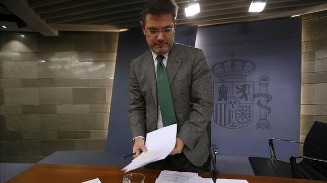 El ministro de Justicia en funciones, durante una comparecencia.
