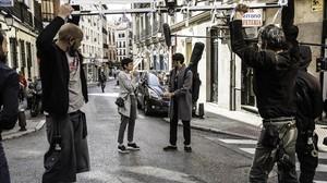 Rodaje de No le culpes al Karma de lo que te pasa por gilipollas, con Verónica Echegui y Álex García.