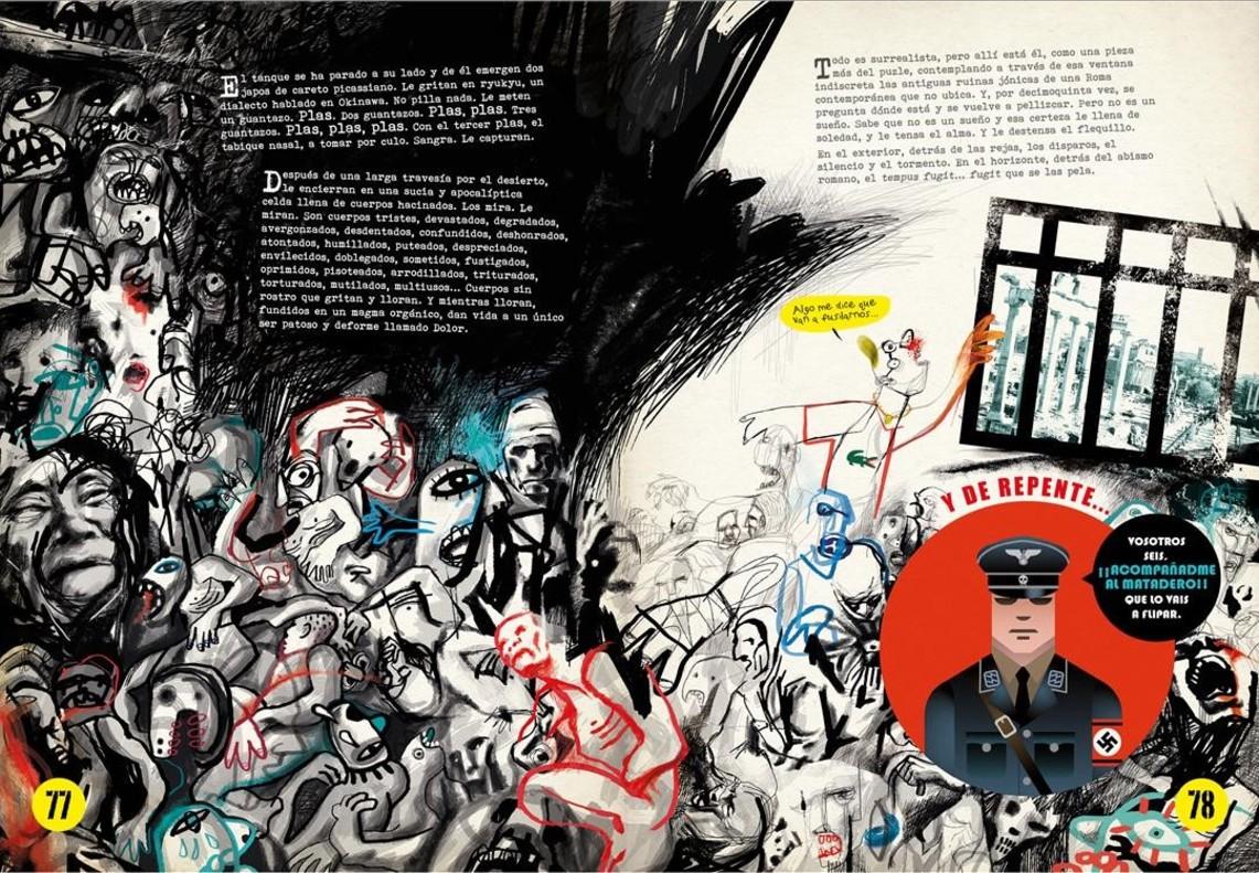 Doble página de El niño Nada, el nuevo cómic del dibujante e ilustrador Víctor Escandell.