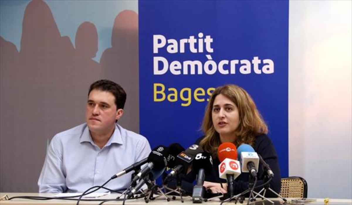 David Bonvehí y la coordinadora general del PDECat, Marta Pascal, ayer en la rueda de prensa.