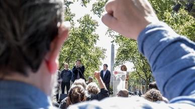 Acto de celebración de la recuperación de la plaza del Cinc d'Oros.