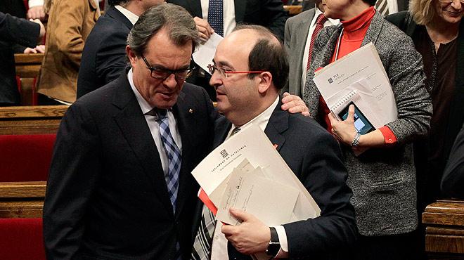 """Declaraciones de Miquel Iceta en el debate de investidura de Carles Puigdemont:""""Las decisiones del Parlament son legítimas y democráticas si se amparan en la legalidad vigente""""."""