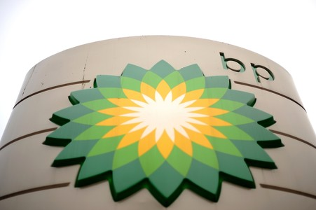 El logo de BP, en una estaci�n de servicio de Londres.
