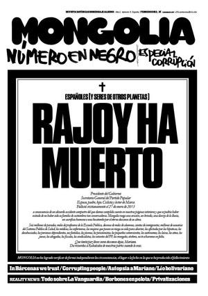 La revista 'Mongolia' lanza una pol�mica portada con una falsa esquela de Rajoy