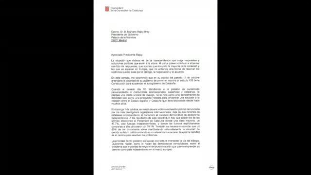 Aquesta és la carta de resposta de Puigdemont al requeriment de Rajoy