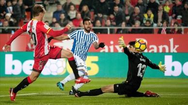 El Girona empata con la Real y encadena cuatro jornadas invicto