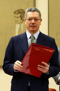 El ministro Alberto Ruiz Gallardón, durante la comisión de justicia en el Congreso.