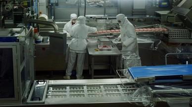 Una de las fábricas de embutidos de la compañía Casademont, en plena actividad.
