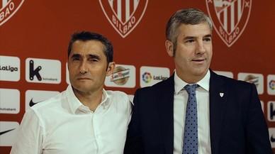 Valverde y Urrutia, el presidente del Athletic, en la despedida del técnico en San Mamés.