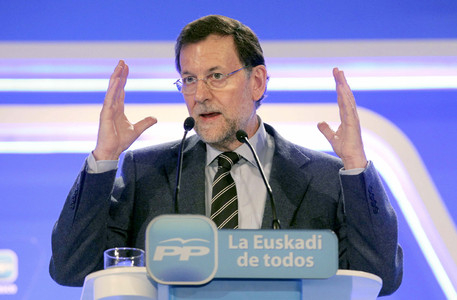 Rajoy, durante su intervencin en Bilbao este domingo. EFE